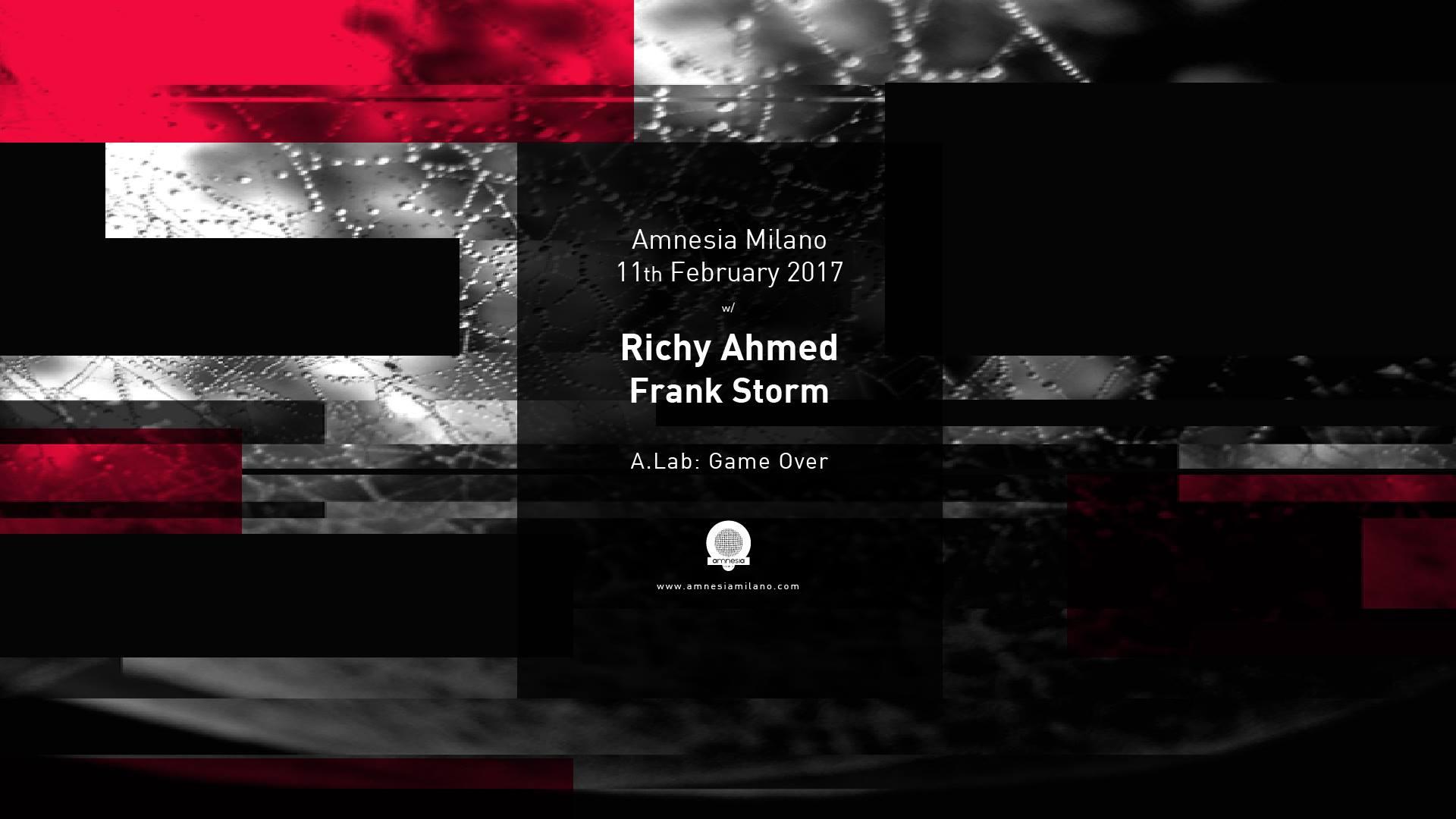 Amnesia Milano – Richy Ahmed & Frank Storm – Sabato 11 Febbraio 2017