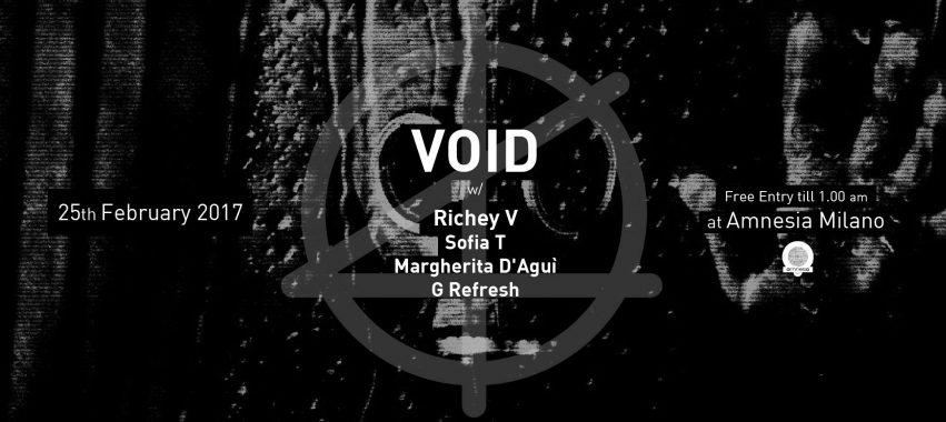 Amnesia presenta: VOID – 25 Febbraio 2017
