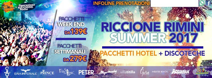 Riccione estate 2017 Pacchetti vacanza hotel + discoteche