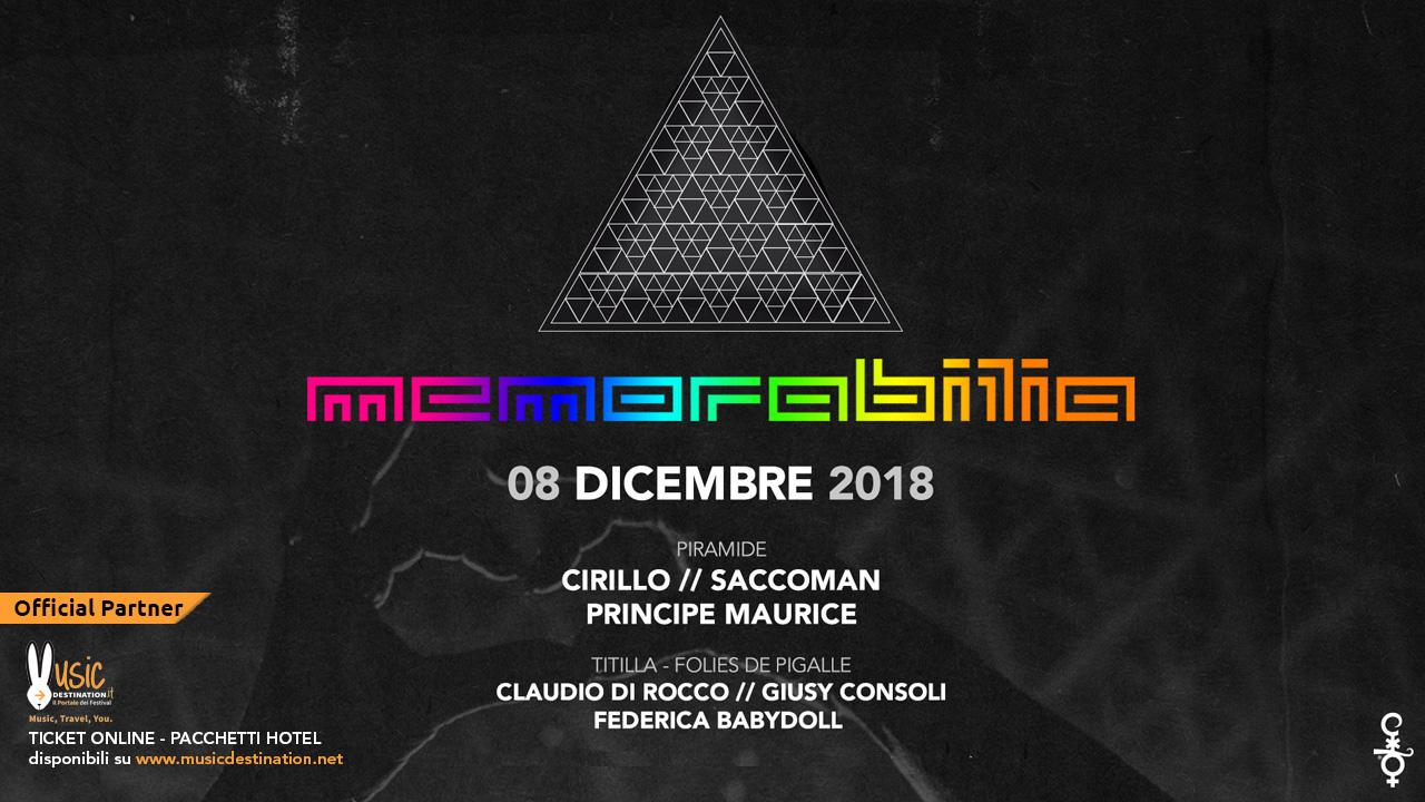 Memorabilia @ Cocoricò Riccione – 08 dicembre 2018 – Ticket – Pacchetti hotel