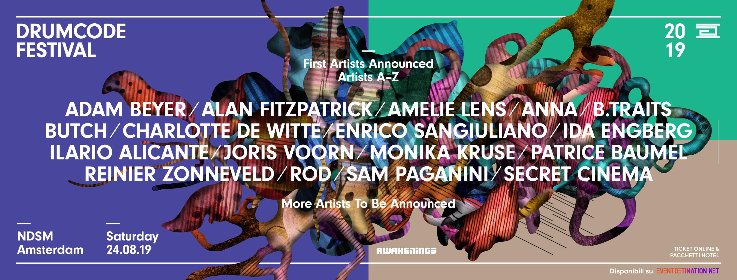Drumcode Festival 2019, 24 Agosto NDSM Amsterdam – Ticket Pacchetti Hotel