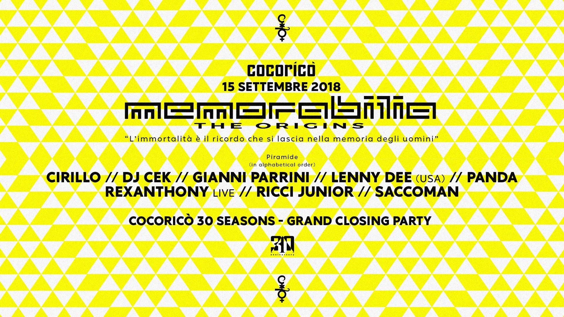 MEMORABILIA | COCORICO' | Grand Closing Party  | 15 Settembre 2018