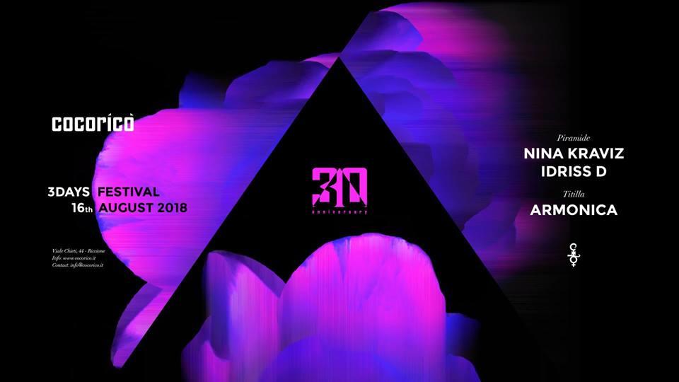 COCORICO' | 3Days Festival | Nina Kraviz| 16 Agosto 2018