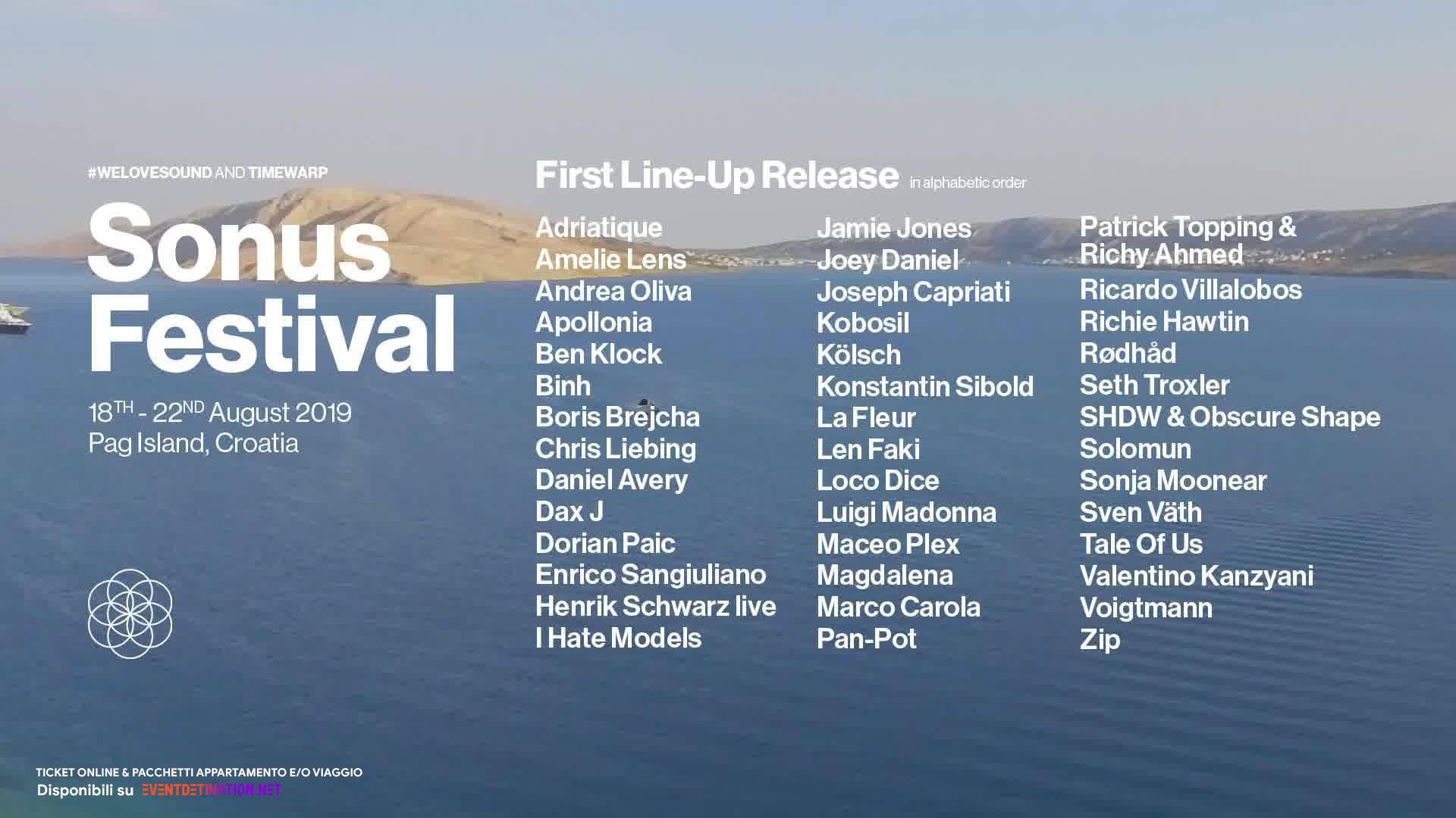 SONUS FESTIVAL 2019, 18 – 22 August, Zrce Novalja Pag Croatia