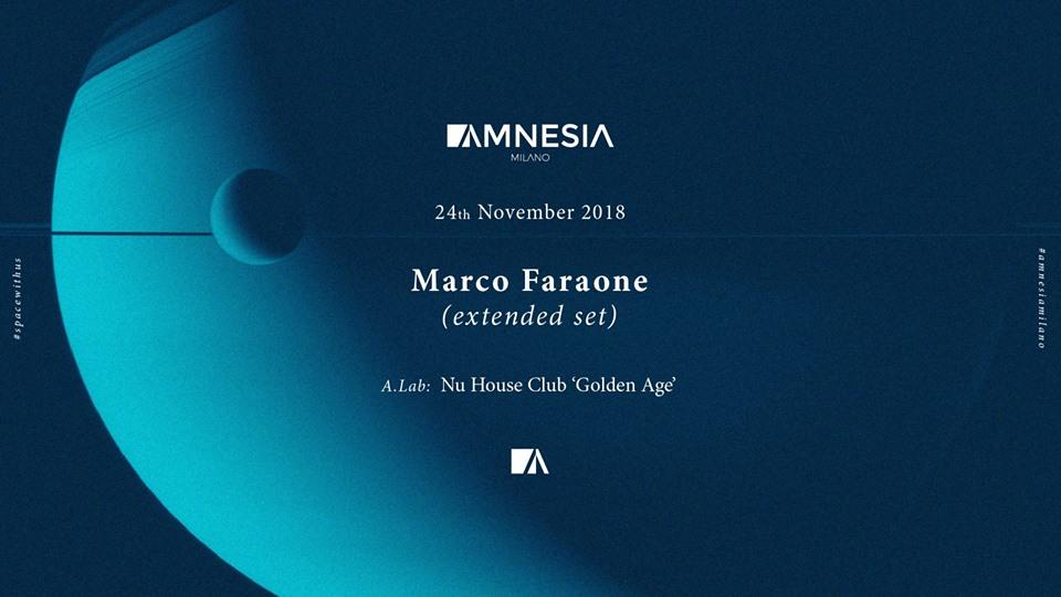 Marco Faraone @ Amnesia Milano – 24 Novembre 2018 – Ticket e Pacchetti Hotel
