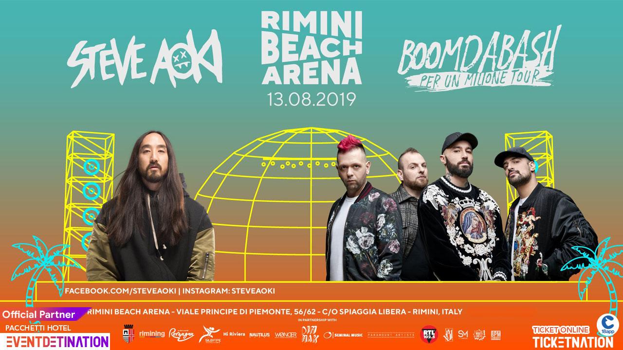 Rimini Beach Arena pres. STEVE AOKI + Boomdabash – 13 Agosto 2019 – Ticket -Biglietti 18app – Pacchetti Hotel