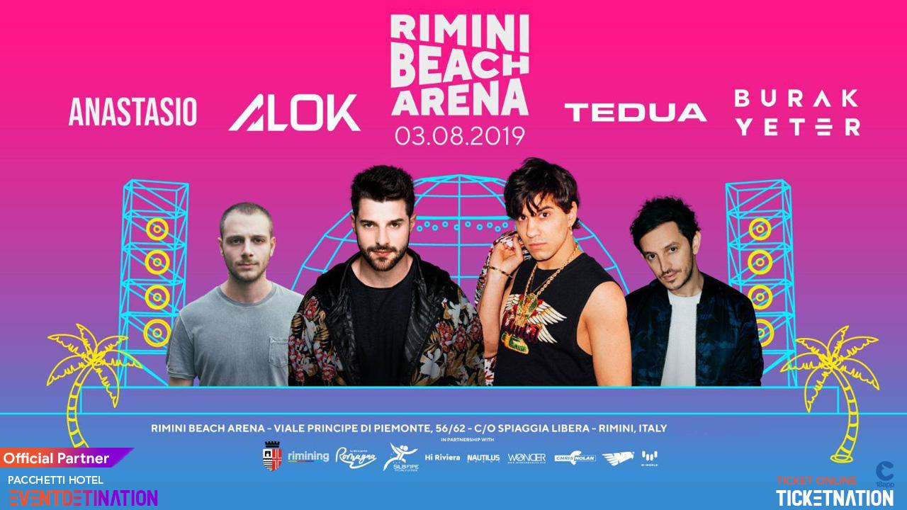 TEDUA, ANASTASIO ALOK alla Rimini Beach Arena  – Sabato 03 Agosto 2019 – Ticket -Biglietti 18app – Pacchetti Hotel