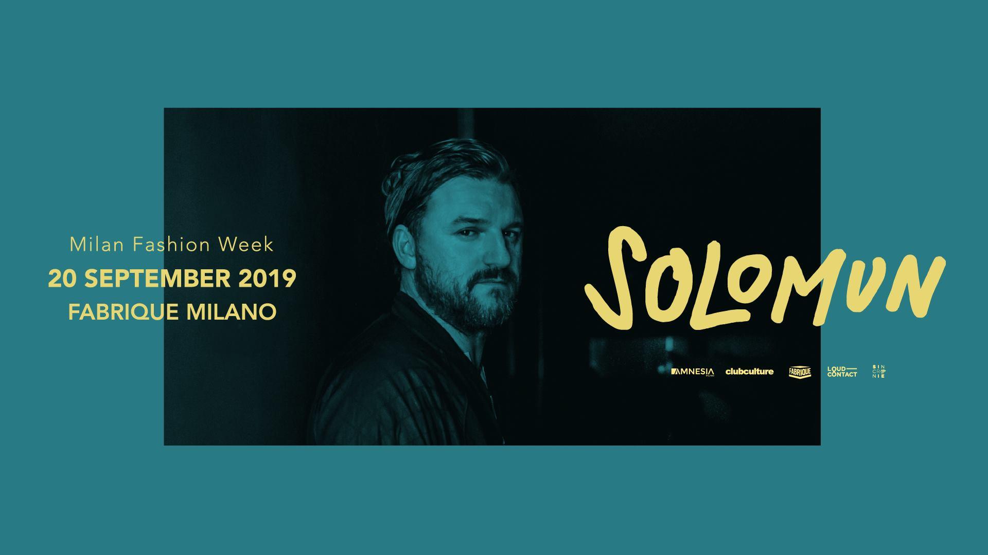 Fabrique  Milano – Solomun – Venerdì 20 settembre 2019