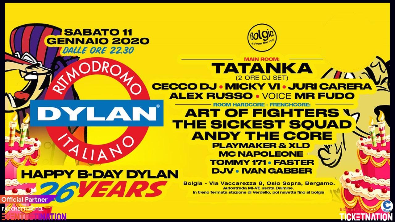HB DAY DYLAN con TATANKA al Bergamo Sabato 11 01 2020 – Ticket Tavoli Biglietti 18app Pacchetti Hotel