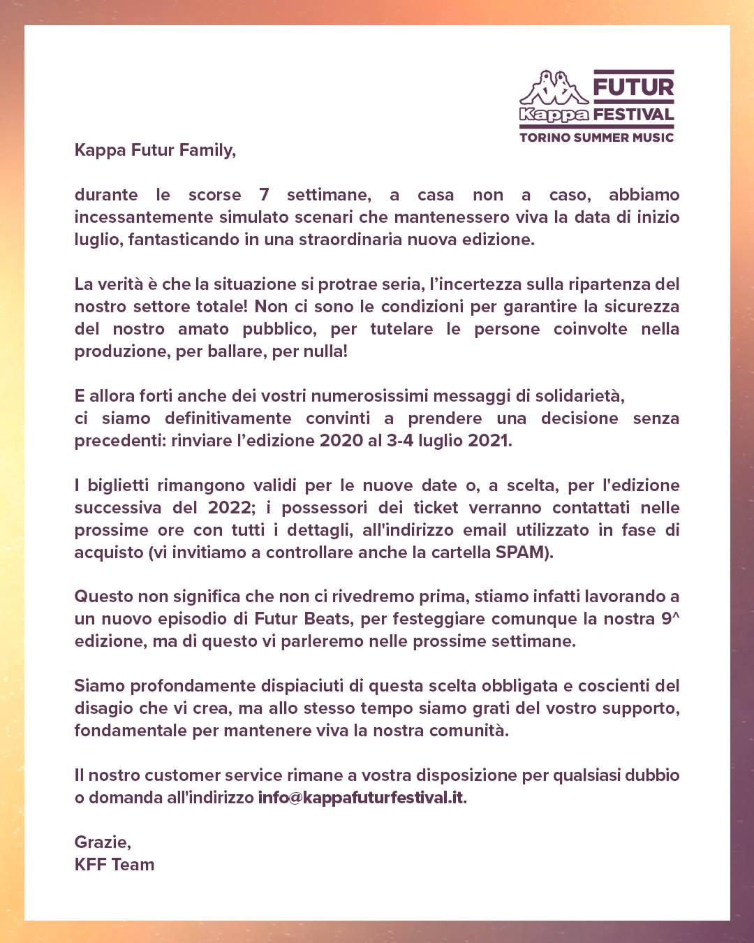kappa futur festival rinvio